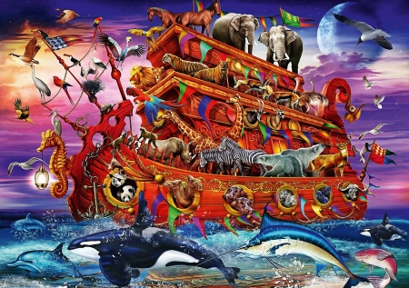 The Ark - sea, animals, art, whales, ship, dolphins, digital