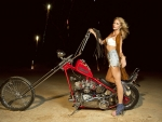 Liz Berzen Posing with a Harley Chopper