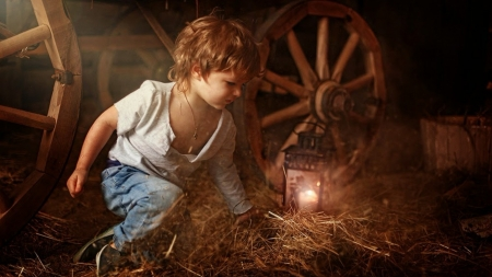 quite time - boy, light, play, barn