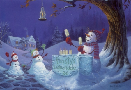 Frosty lemonade - pictrua, art, michael humphries, ice cream, painting, snowman, winter, iarna, funny