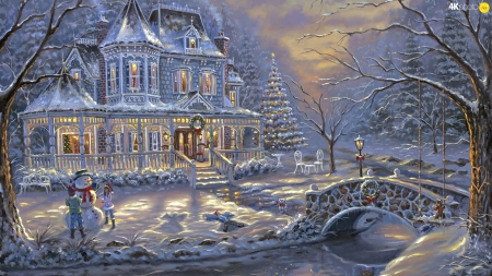 Christmas - craciun, christmas, snowman, winter, iarna, art, house, robert finale, tree, painting, pictura