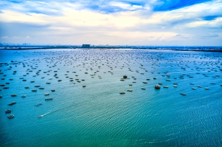 Sea farming - color, nature, hue, ocean, farming, sea, cyan, turquoise, photography, water, cultured, beauty, pearls