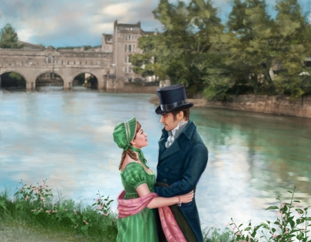Romantic couple - man, simona reggimenti, couple, art, romantic, lovers, water, fantasy, green, girl, painting, pictura