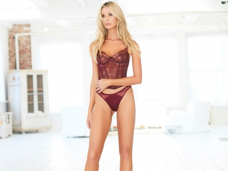 MONICA HANSEN - posing in large room, platinum blonde, burgundy wine colour, two piece lingerie
