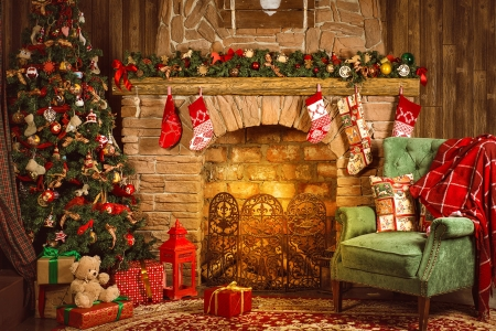 Christmas home - decoration, home, presents, gifts, cozy, christmas, holiday, beautiful, winter, eve, fireplace, tree