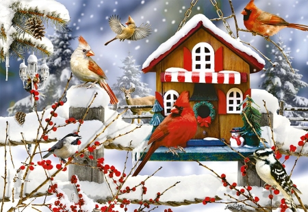 The lodge - lodge, snow, gathering, christmas, birds, beautiful, winter, art, holiday, cardinals