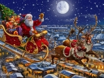 Santa sleigh and reindeers in sky