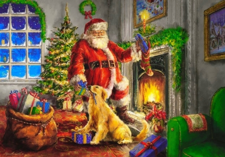 A time of gifts - winter, eve, art, cozy, christmas, time, home, beautiful, fireplace, santa, tree, presents, night