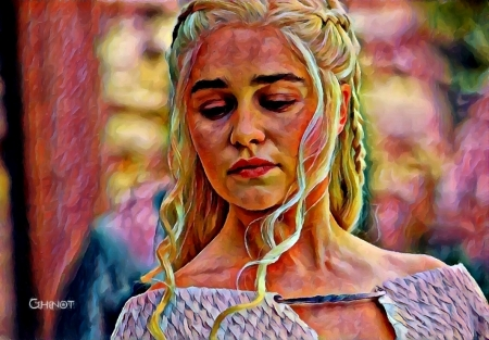 Daenerys - daenerys targaryen, painting, face, by cehenot, pictura, cehenot, art, game of thrones, Emilia Clarke, girl, actress