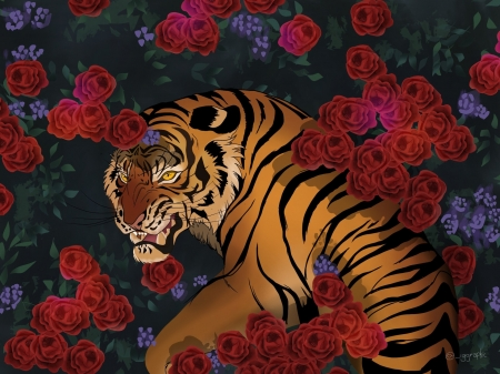 Spikes - fantasy, igor garcia, rose, flower, tiger, tigru, red, art, luminos, animal