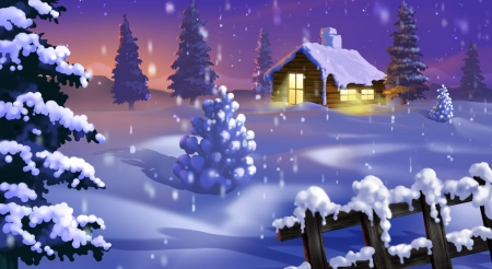 Classic winter scene - art, house, snow, paint, painting, abstract, digital art, winter, wallpaper