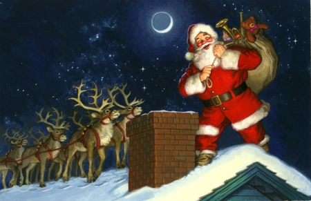 UP ON THE ROOF - CHIMNEY, REINDEER, SANTA, MOON, STARS, ROOFTOP, SKY, NIGHT, WINTER