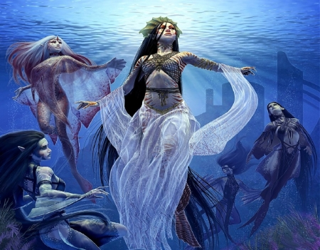 Gracing Through Deep Waters - swimming, Fantasy, Veil, beauty, Creatures, Mythical