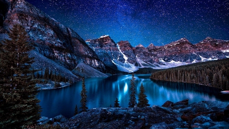 Moraine Lake - water, alberta, mountains, nature, park, reflection, sky, lake