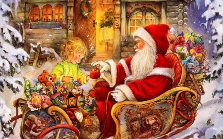 Act of Giving - Christmas, sleigh, apple, snow, child, presents, santa claus, toys, art