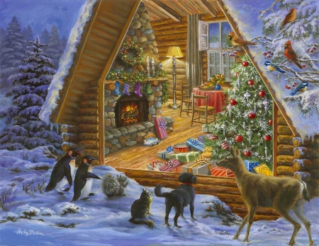 Christmas Cabin - christmas tree, squirrel, penguin, cat, animals, deer, dog