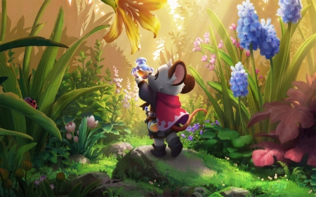 Mouse in Meadow - flowers, nectar, meadow, mouse, anime