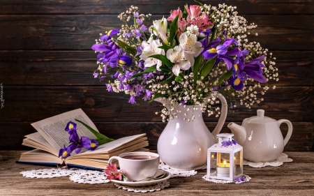 Still Life with Book - still life, teapot, bouquet, lantern, flowers, book, teacup