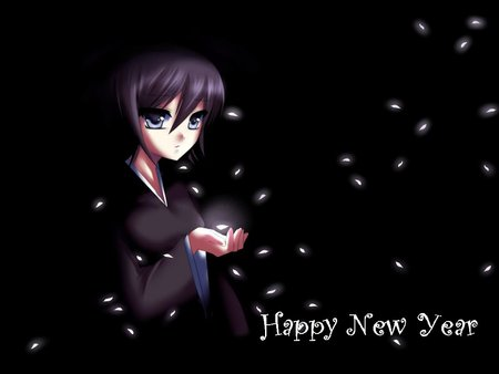 Waiting new year - anime, new year, cute