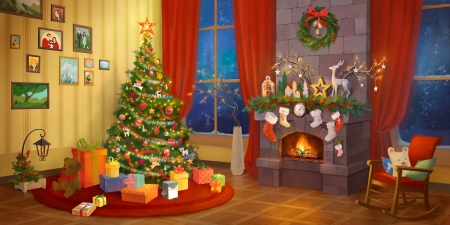 Christmas interior - christmas, interior, home, beautiful, eve, winter, cozy, fireplace, tree, gifts