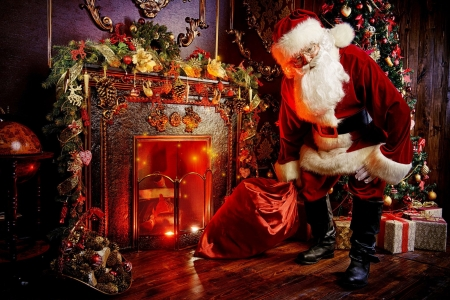 Santa putting gifts under tree - tree, holiday, decoration, Santa, gifts, eve, winter, cozy, home, fireplace
