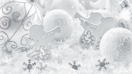 White Christmas - photography, holidays, Xmas, abstract, softness, ornaments, Christmas, still life, wallpaper, white