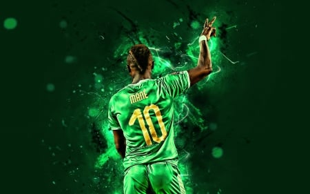 Sadio Mané - green, mane, senegalese, senegal national football team, sadio mane, ten, soccer, senegal, sadio, sport, football