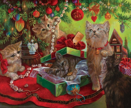 Christmas Cats - ornaments, christmas tree, kitten, gifts, painting