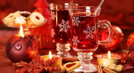 Hot Christmas tea - drink, abstract, tea, candle, Christmas, warm, holidays, still life, photography, wallpaper, Xmas