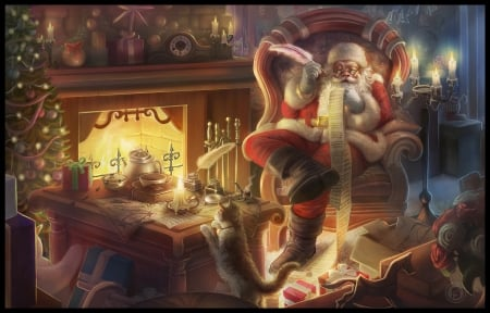 Santa checking his list for last time - santa, fantasy, craciun, christmas, bhaskar roy, pisici, cat