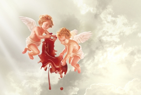 Too much tomatoe souce - angel, cupid, commercial, funny, couple, wings, advertise, add, fantasy, tide