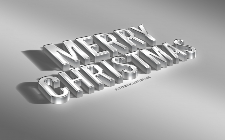 Merry Christmas - art, creative christmas design, merry christmas, christmas, 3d metal letters, new year, stylish 3d letters, white background