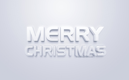 Merry Christmas - christmas, merry christmas, 3d white art, 3d letters, white background