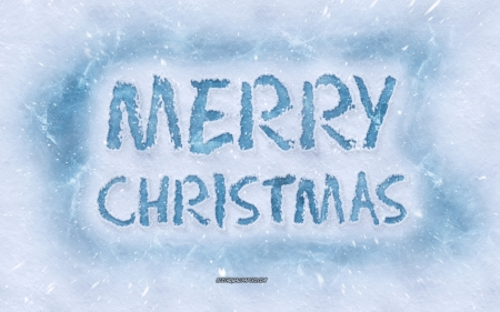 Merry Christmas - winter concepts, inscription on snow, merry christmas, christmas, snow, ice letters, winter art