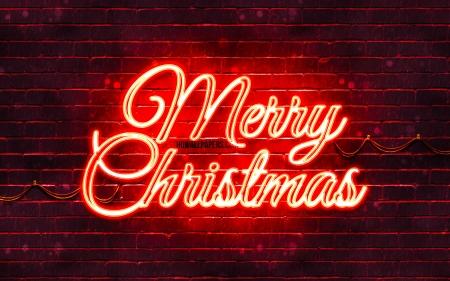 Merry Christmas - concepts, red merry christmas, red, christmas, 4k, creative, christmas decorations, red neon merry christmas, red brickwall, concept, merry christmas, happy new year concept, xmas decorations