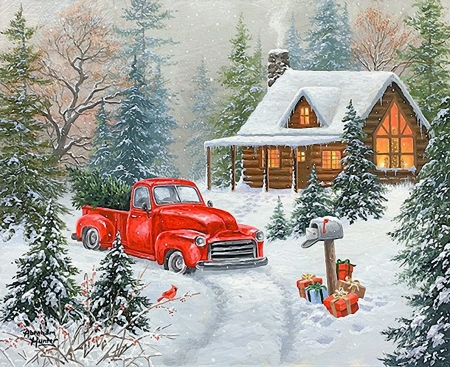 Ready for Christmas - car, postbox, cabin, truck, trees, gifts, winter, artwork, snow, painting