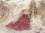 Angel in christmas forest