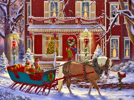 Christmas sleigh - joy, horse, mood, lights, family, art, sleigh, christmas, holiday, town, fun, ride
