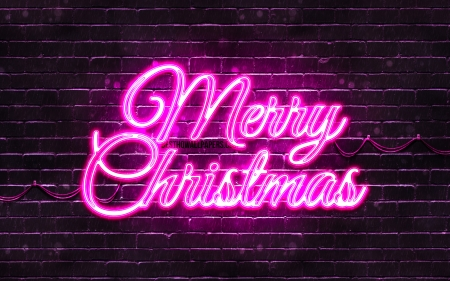 Merry Christmas - merry christmas, christmas, 4k, xmas decorations, creative, christmas decorations, holidays, purple brickwall, purple, happy new years concepts, purple neon merry christmas