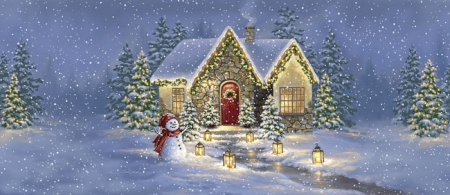 Christmas Light - winter, lights, Christmas, holidays, lanterns, houses, love four seasons, snowman, xmas and new year, lanes, paintings, snow, Christmas trees