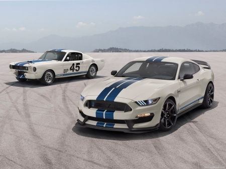 1965 Mustang Shelby GT350 fastback coupe. 2020 Ford Mustang Shelby GT350 Heritage Edition - 2020 Mustang, White, Classic, Blue Stripes