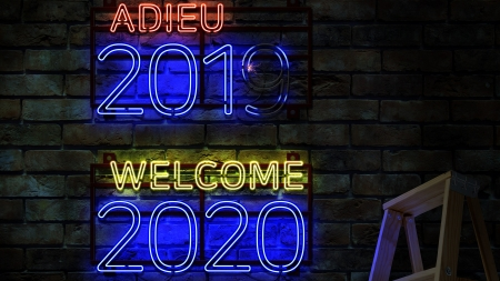 Adieu 2019 Welcome 2020 - graphics, text, 3d, typography, neon sign