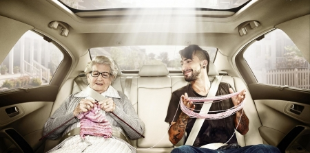 :D - old woman, add, car, funny, commercial, man, advertise, situation