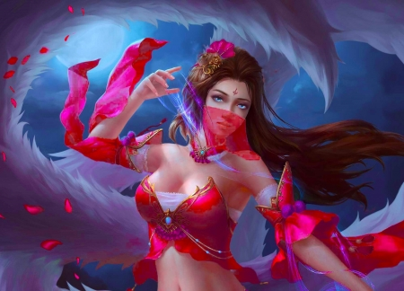 Ahri - fantasy, fox, nine tails, girl, pink, ahri, blue, red, luminos, veil