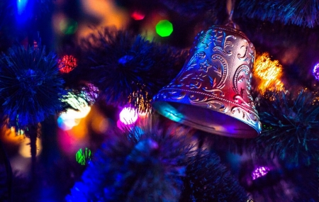 Christmas bell - tree, holiday, decoration, new year, bell, beautiful, winter, lights, christmas