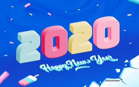 New Year 2020 - new year, happy new year, winter, 2020 concepts, holidays, happy new year 2020, new year 2020, 2020 3d background, 3d letters, 2020 new year, blue background, 2020, ice