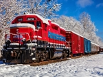 Red train in snow