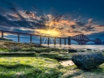 Sunset on the Forth Railway Bridge, Scotland