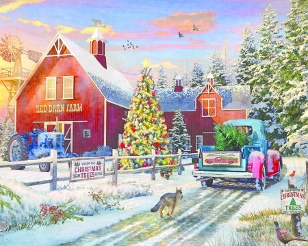 Red Barn Tree Farm - christmas, snow, car, painting, trees, winter, artwork