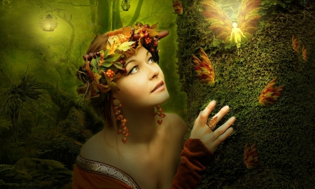 The Magical Fairy - digital art, fantasy girl, Fairy, fantasy, magical, butterflies, Dreamy